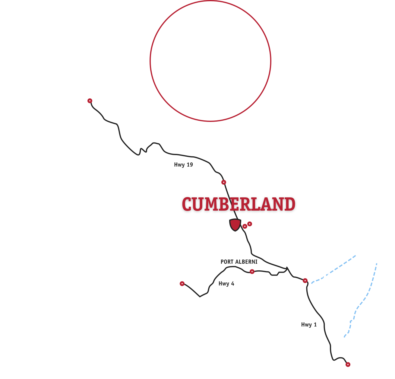 Cumberland, BC - Vancouver Island Map